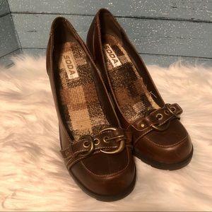 Soda Brown chunky Heels Size 9.5